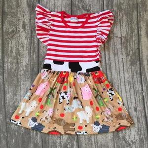 Red & White Striped Farm Animal Dress
